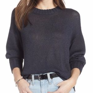 NWT Something Navy Subtle Sheen Sweater blue XS